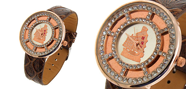 Fashion Jewelry Golden Plated Amber Leather Quartz Wrist Watch