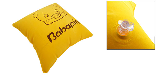 Piggy Square Hug Back Inflatable Pillow Yellow