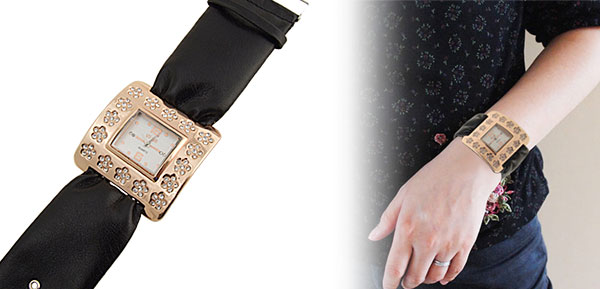 Fashion Jewelry Golden Square Ladies Wrist Watches Black Band