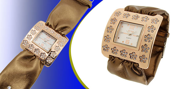 Fashion Jewelry Golden Square Ladies Wrist Watches Brown Band