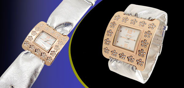 Fashion Jewelry Golden Square Ladies Wrist Watches Silver Band