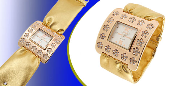Fashion Jewelry Golden Square Ladies Wrist Watches Golden Band