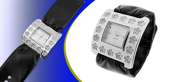 Fashion Jewelry Silver Square Ladies Wrist Watches Black Band
