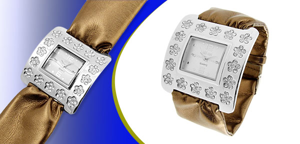 Fashion Jewelry Silver Square Ladies Wrist Watches Brown Band