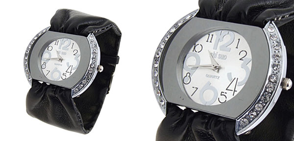 Fashion Jewelry Ladies Quartz Wrist Watches Black Band