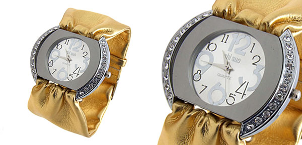 Fashion Jewelry Ladies Quartz Wrist Watches Golden Band