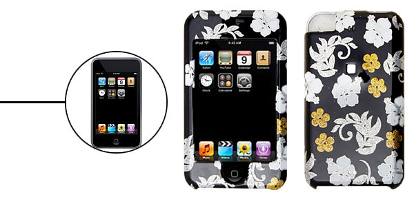 Black Flower Plastic Protector Hard Case for Apple iPod Touch 1st Generation
