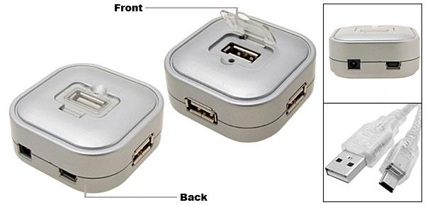 4 Ports 480mbps Hi-Speed USB 2.0 Hub Silver