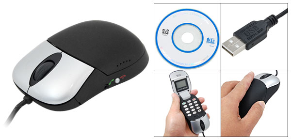 3 in 1 USB PC Skype Mouse + Hi-Fi Speakers+VoIP Phone