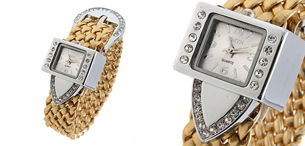 Fashion Jewelry Silver Strap Ladies Girls Crystal Quartz Watches Golden Band