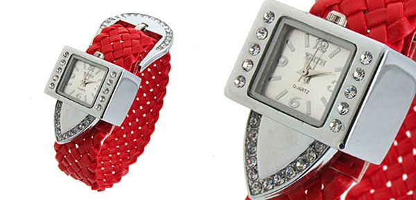 Fashion Jewelry Silver Strap Ladies Girls Crystal Quartz Watches Red Band