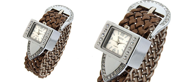 Fashion Jewelry Silver Strap Ladies Girls Crystal Quartz Watches Brown Band