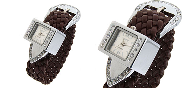 Fashion Jewelry Silver Strap Ladies Girls Crystal Jewelry Quartz Watch  -Brown Band