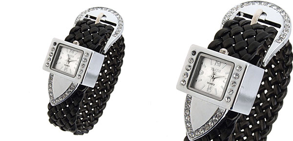 Fashion Jewelry Silver Strap Ladies Girls Crystal Quartz Watches Black Band