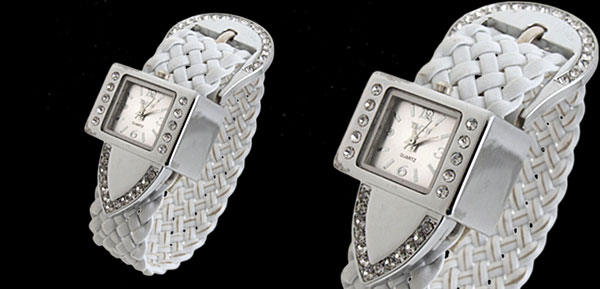 Fashion Jewelry Silver Strap Ladies Girls Crystal Quartz Watches White Band