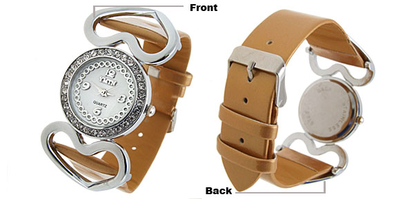 Stylish Double Heart Design Crystal Ladies Leather Wrist Watches Golden Band
