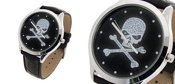 Fashion Jewelry Skull & Cross Bones Black Leather Mens Quartz Watch