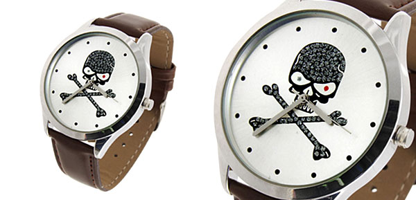 Fashion Jewelry Silver Metal Skull & Cross Bones Dial Brown Leather Mens Quartz Watch