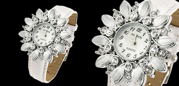 Fashion Jewelry Sunflower Shape Face Ladies Leatherette Wrist Quartz Watches White