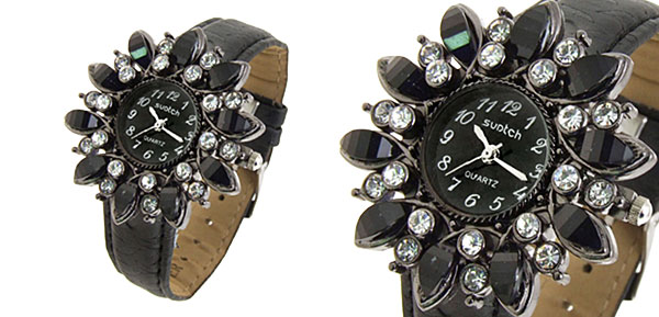 Fashion Jewelry Sunflower Shape Face Ladies Leatherette Wrist Quartz Watches Black