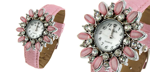 Fashion Jewelry Sunflower Shape Face Ladies Leatherette Wrist Quartz Watches Pink