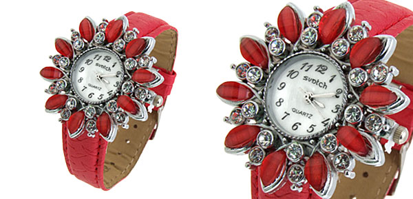 Fashion Jewelry Sunflower Shape Face Ladies Leatherette Wrist Quartz Watches Red
