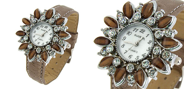 Fashion Jewelry Sunflower Shape Face Ladies Leatherette Wrist Quartz Watches Brown