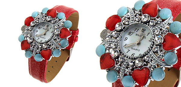 Fashion Jewelry Ladies Wrist Quartz Watches Red Band