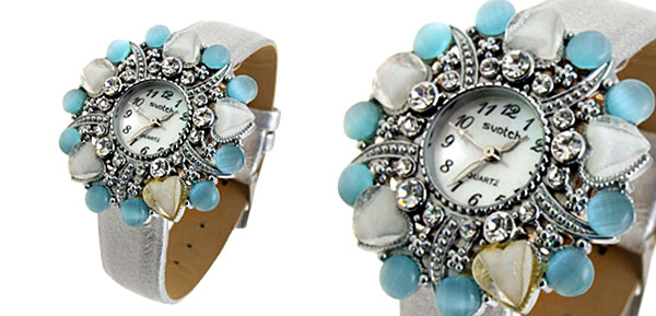 Fashion Jewelry Ladies Wrist Quartz Watches Silver Band