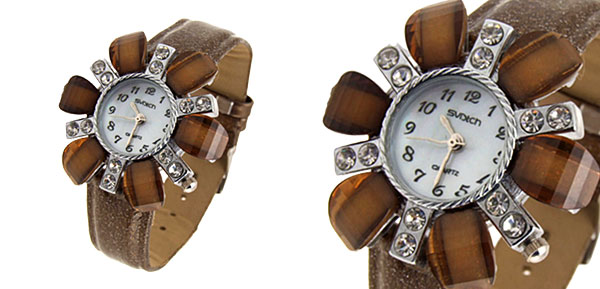 Fashion Jewelry Flower Face Ladies Leatherette Wrist Quartz Watches Brown Band