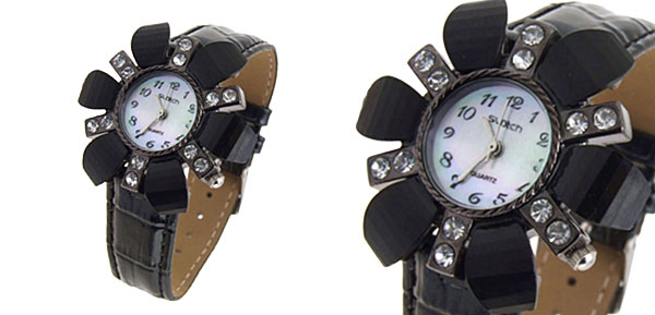 Fashion Jewelry Flower Face Ladies Leatherette Wrist Quartz Watches Black Band
