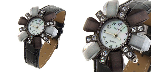 Fashion Jewelry White and Brown Leaves Face Ladies Leatherette Wrist Quartz Watches