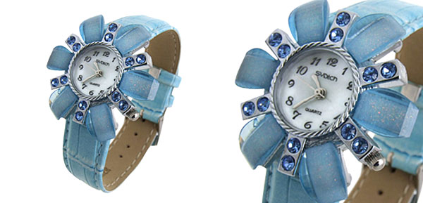 Fashion Jewelry Flower Face Ladies Leatherette Wrist Quartz Watches Baby Blue Band