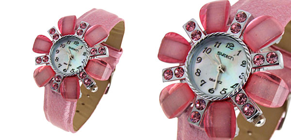 Fashion Jewelry Flower Face Ladies Leatherette Wrist Quartz Watches Pink Band