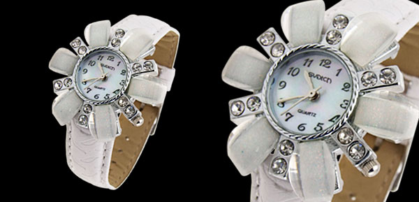 Fashion Jewelry Flower Face Ladies Leatherette Wrist Quartz Watches White Band