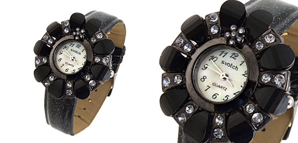 Fashion Jewelry Flower Shape Design Ladies Wrist Quartz Watches Black Band
