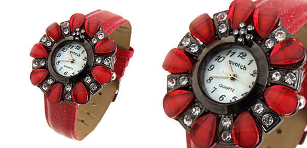 Fashion Jewelry Flower Shape Design Ladies Wrist Quartz Watches Red Band