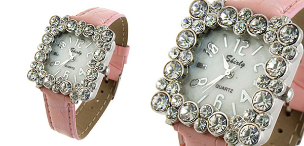 Fashion Jewelry Square Crystal Ladies Girls Leatherette Wrist Watches Pink Band