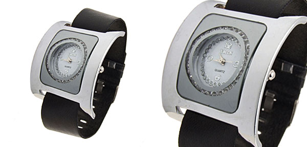 Fashion Jewelry Silver Square Ladies Wrist Quartz Strap Watches Black Band