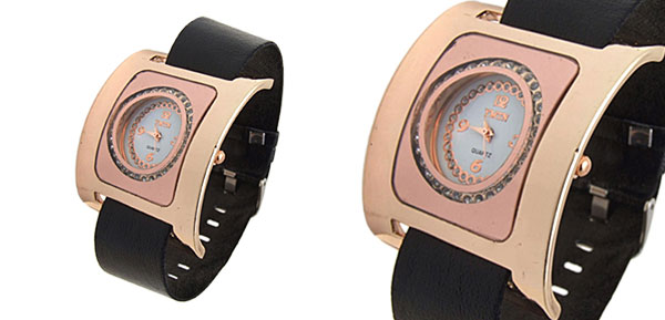 Fashion Jewelry Golden Square Ladies Wrist Quartz Strap Watches Black Band