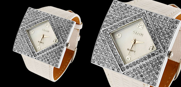 Fashion Jewelry Silver Ladies Girls Crystal Leather Watch White Band