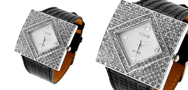 Fashion Jewelry Silver Ladies Girls Crystal Leather Watch Black Band