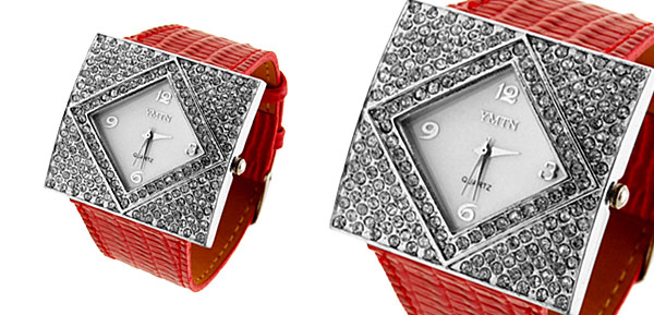 Fashion Jewelry SILVERY Ladies Girls Crystal Style Leather Watch Red Band