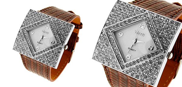 Fashion Jewelry Silver Ladies Girls Crystal Leather Watch Brown Band