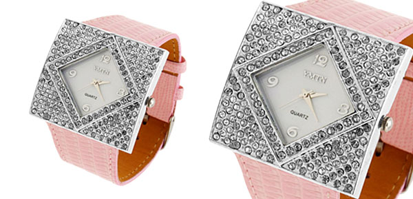 Fashion Jewelry Silver Ladies Girls Crystal Leather Watch with Pink Band