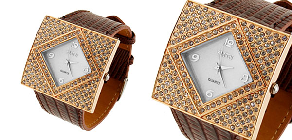 Fashion Jewelry GOLDENen Ladies Girls Crystal Style Leather Watch Brown Band