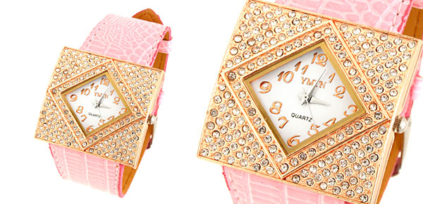 Fashion Jewelry Golden Ladies Girls Crystal Leather Watch Pink Band