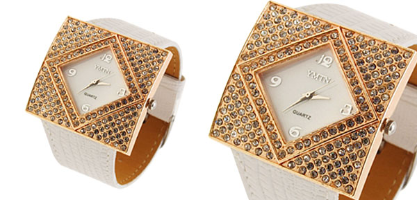 Fashion Jewelry Golden Ladies Girls Crystal Leather Watch White Band