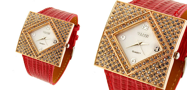 Fashion Jewelry Golden Ladies Girls Crystal Leather Watch Red Band