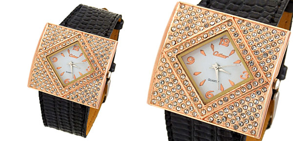 Fashion Jewelry Golden Ladies Girls Crystal Leather Watch Black Band